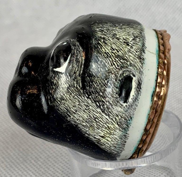 Georgian  Rare Battersea Bilston Pug Bonbonniere-18th Century For Sale