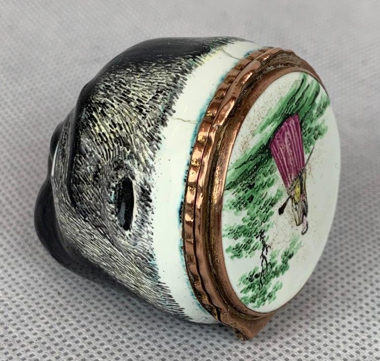 Hand-Crafted  Rare Battersea Bilston Pug Bonbonniere-18th Century For Sale