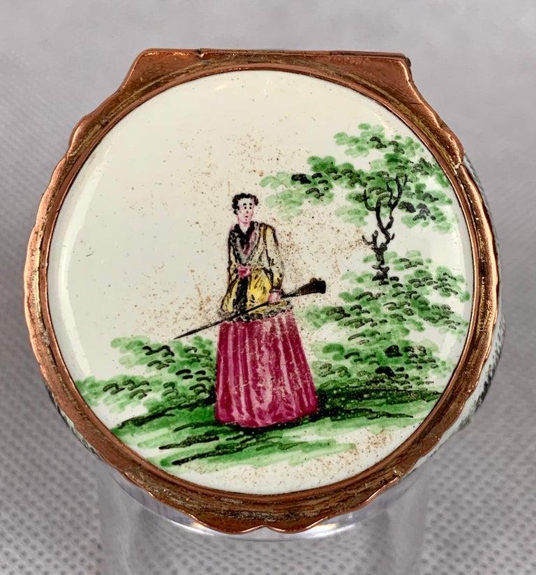 English  Rare Battersea Bilston Pug Bonbonniere-18th Century For Sale