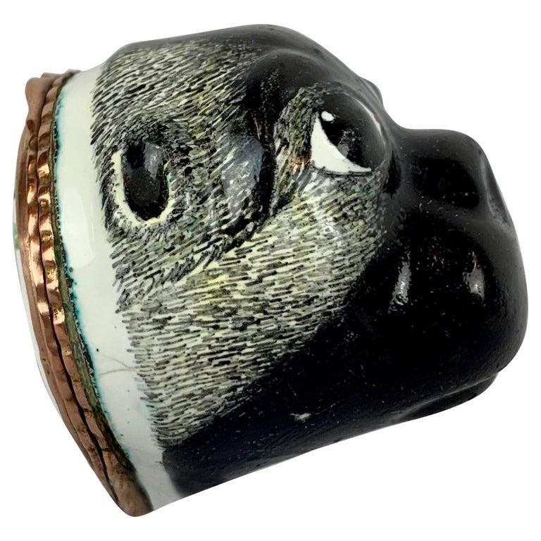 Rare Battersea Bilston Pug Bonbonniere-18th Century For Sale