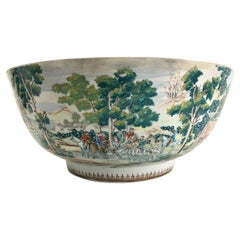 Extremely Rare 18th Century Chinese Export Porcelain Punch Bowl Fox Hunt Scene