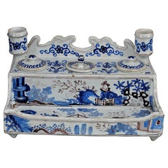 Rare 18th Century Delft Inkstand/Inkwells or Encrier