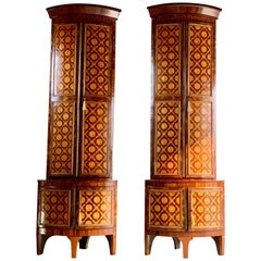 Rare 18th Century Dutch Corner Cabinets Pair of Inlaid Marquetry Monumental