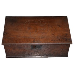 18th Century Early American Hand Carved Walnut Bible Box, circa 1763