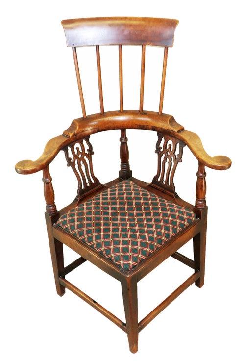 Rare 18th Century English Walnut Country High Back Corner Armchair