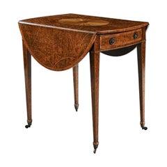 Rare 18th Century George III Yew-Wood Inlaid Oval Pembroke Table