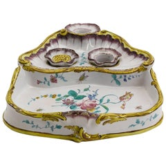 Rare 18th Century German Faience Rococo Encrier Inkstand Stockelsdorf