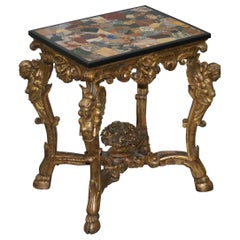 Rare 18th Century Italian Giltwood Heavily Carved Table with Specimen Marble Top