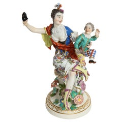 Rare 18th Century Meissen Porcelain Group of a Thalia with a Harlequin Child