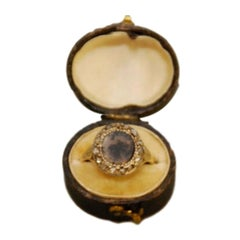 Rare 18th Century Moss Agate and Diamond Ring
