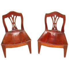 Rare 18th Century Pair of Miniature Mahogany Chairs