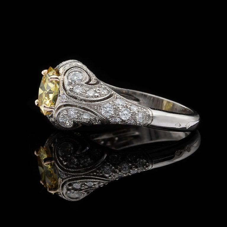 Art Deco Rare 1.90 Carat Fancy Intense Yellow Diamond Custom French Ring For Sale