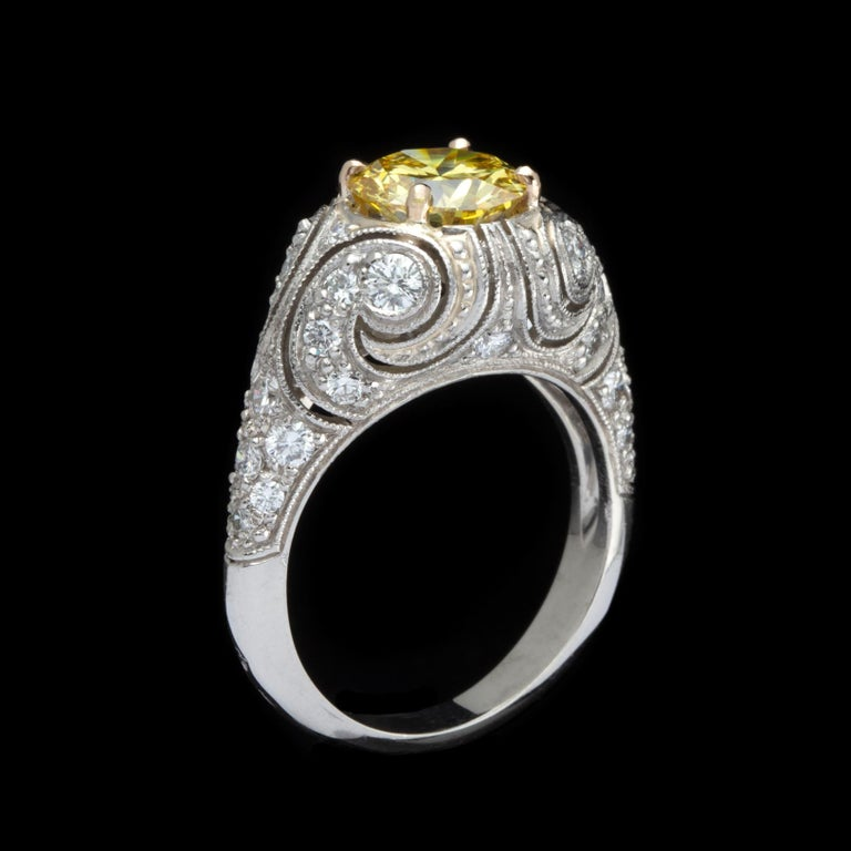 Rare 1.90 Carat Fancy Intense Yellow Diamond Custom French Ring In Excellent Condition For Sale In San Francisco, CA