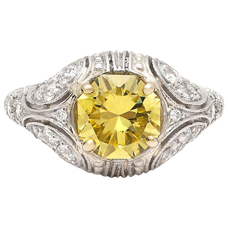 Rare 1.90 Carat Fancy Intense Yellow Diamond Custom French Ring