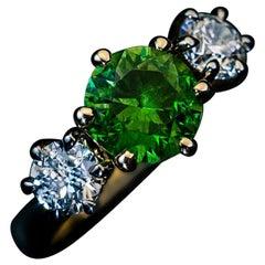 Rare 1.90 Carat Russian Demantoid Diamond Ring