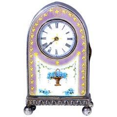 "Rare 1900-1910 Cartier Enamel ""Forget Me Knot"" Motif Dome Clock"