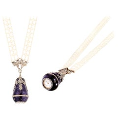1900s Cartier Platinum Diamond Enamel Bell form Pendant Watch with Necklace