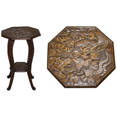 Rare 1905 Liberty's London Japanese Dragon Carved Side End Lamp Wine Table