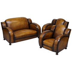 Rare 1920 Art Deco Restored Brown Leather Sofa and Pair of Armchairs Cloud Suite