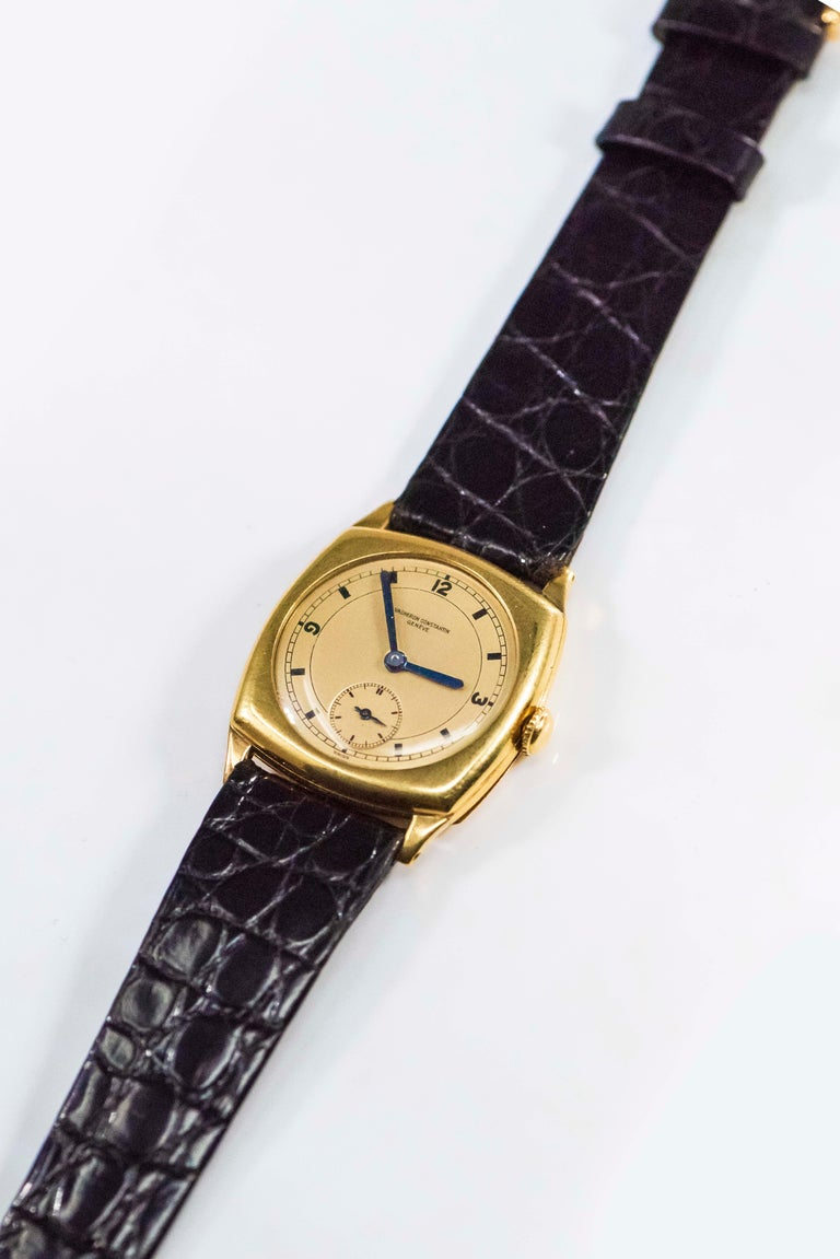 Rare 1920s 18kt YG Vacheron Constantin Sector Dial Officers Cushion Wristwatch For Sale 8
