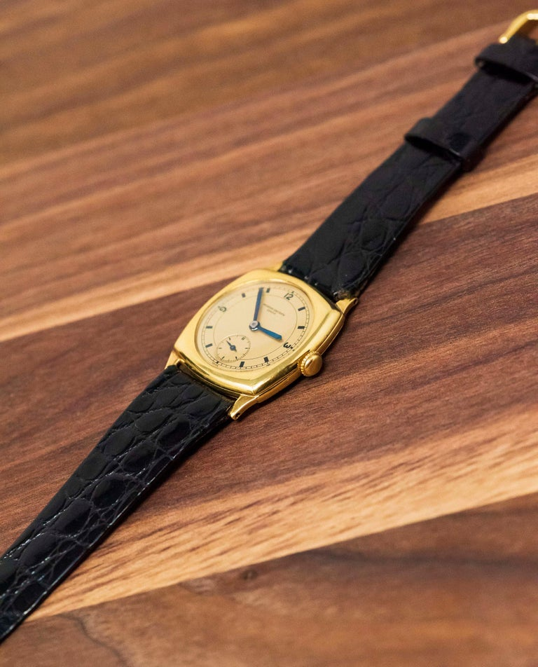 Rare 1920s 18kt YG Vacheron Constantin Sector Dial Officers Cushion Wristwatch For Sale 9