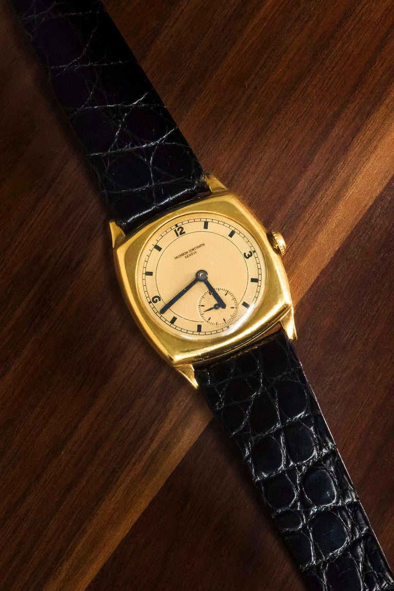 An  1920s Military Officer's Yellow Sector Dial Vacheron Constantin Wristwatch   Case Dimensions & Quick Specs Overview  (Below)   31mm height X 31mm width, 8mm thickness Dial, Case, Movement Signed for Vacheron Constantin   Dial Details: A