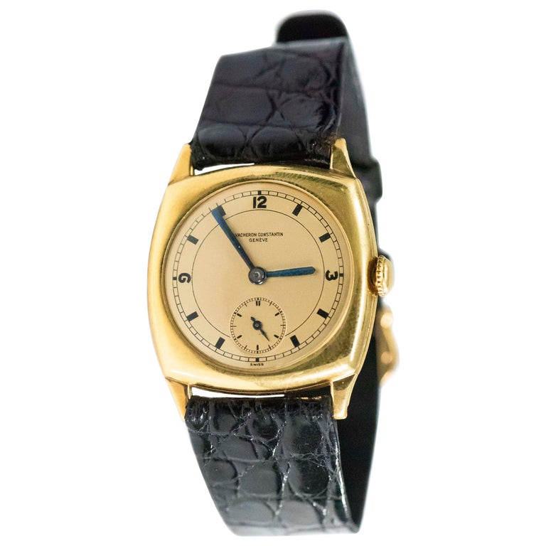 Rare 1920s 18kt YG Vacheron Constantin Sector Dial Officers Cushion Wristwatch For Sale