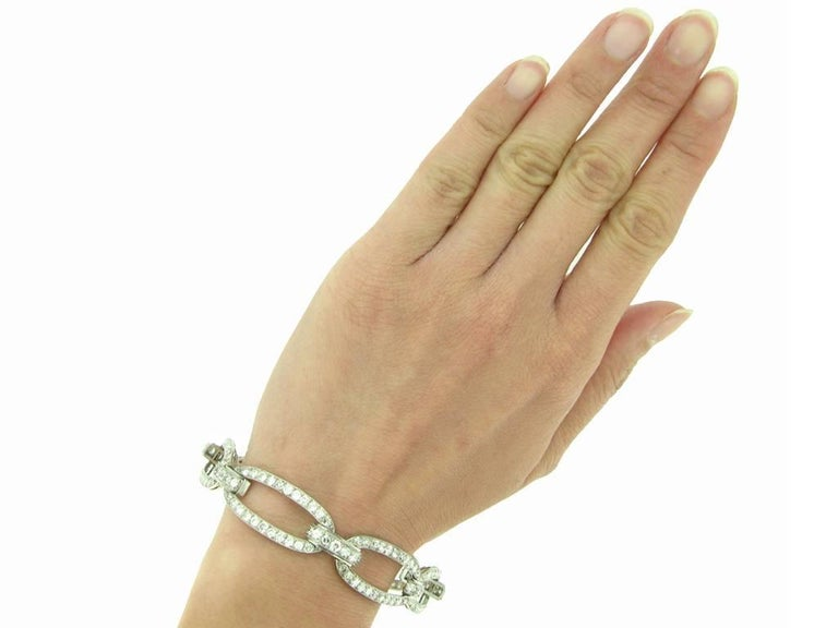 Rare 1920s Georges Fouquet Diamond Oval Link Bracelet  In Good Condition For Sale In London, GB