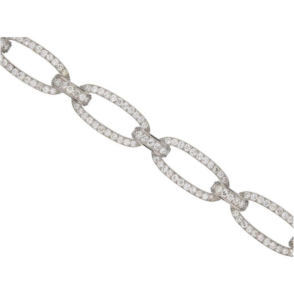 Rare 1920s Georges Fouquet Diamond Oval Link Bracelet