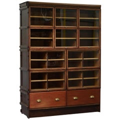 Rare 1920s Haberdashery Stacking Cabinet 10 Retracting Doors 28 Sliding Shelves