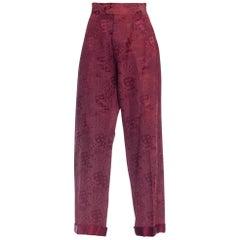 Rare 1930 - 1940s Playing Cards Silk Jacquard Pajama Pants