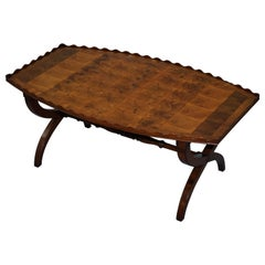 Rare 1930 Oyster Veneered Cross Band Coffee Table Scalloped Edge Walnut Mahogany