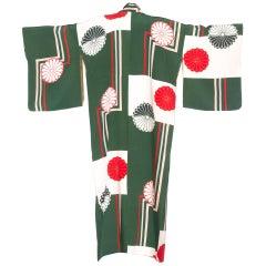 1930S Green & Red Rare Hand Painted Japanese Silk  Kimono