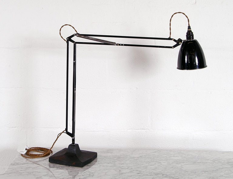 British Rare 1930s Anglepoise Draughtsman's Task Desk Lamp No 1208 Herbert Terry & Sons For Sale