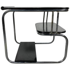 Rare 1930s Art Deco/Machine Age, Streamline Black and Chrome Table, Kem Weber