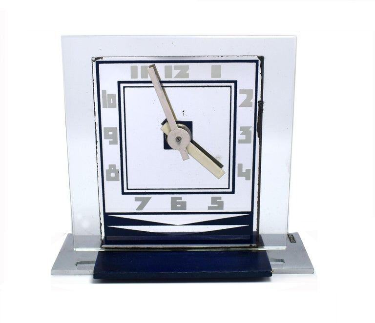 Bronze Rare 1930s Art Deco Modernist Alarm Clock by ATO For Sale
