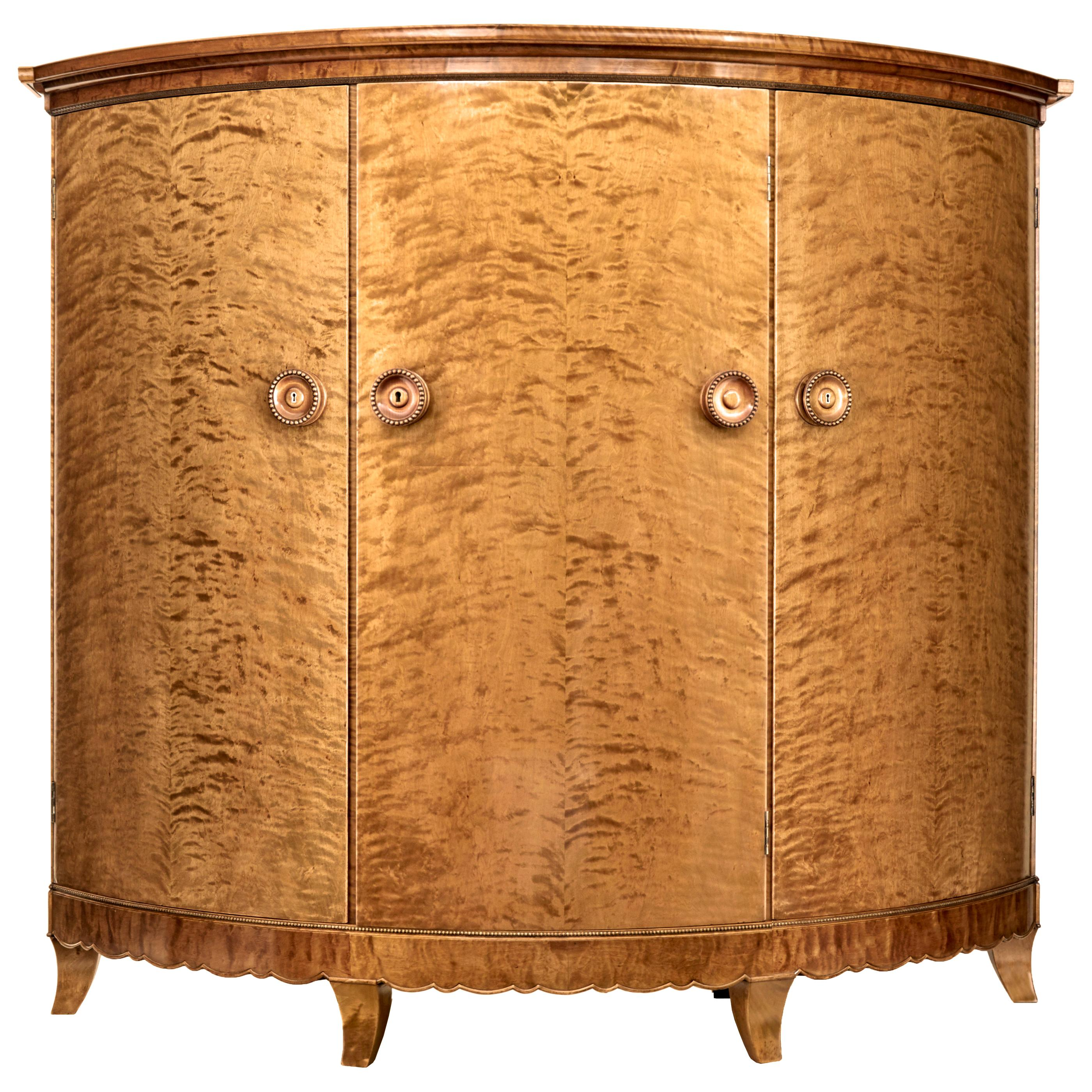 Rare 1930's Birch Cabinet of Grand Proportions Otto Schulz for Boet