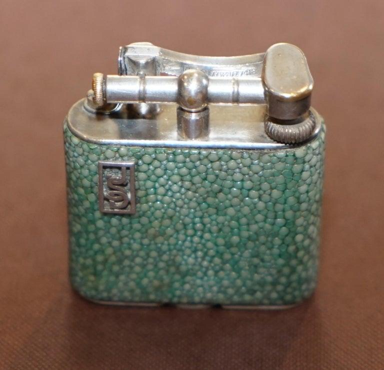 English Rare 1930s Dunhill Shagreen Lighter Pat No 390107 Made in England Art Deco Era For Sale