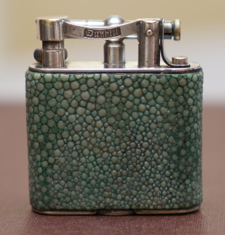 Mid-20th Century Rare 1930s Dunhill Shagreen Lighter Pat No 390107 Made in England Art Deco Era For Sale