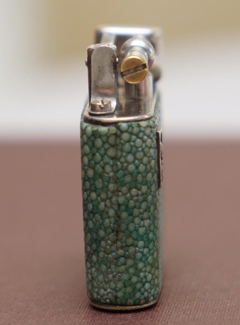 Rare 1930s Dunhill Shagreen Lighter Pat No 390107 Made in England Art Deco Era For Sale 1