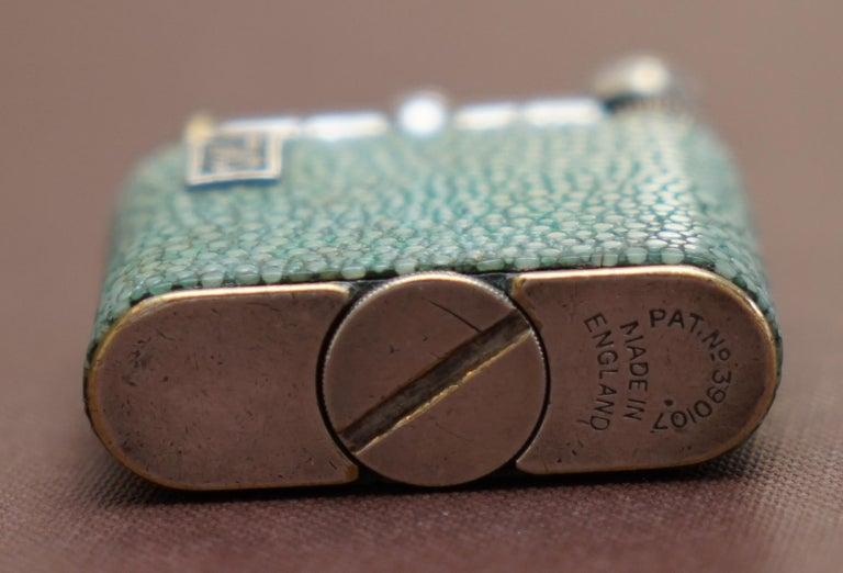 Rare 1930s Dunhill Shagreen Lighter Pat No 390107 Made in England Art Deco Era For Sale 2