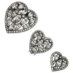 Rare 1930's 'eisenberg' Crystal Heart Pin Trio