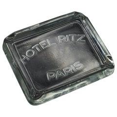 Rare 1930s Hotel Ritz Paris molded Glass Cigarette Ashtray Luxury Relic Chanel