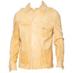 Rare 1930's Mens Suede Buckskin Leather Western Shirt Jacket