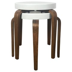 Rare 1930s Modernist White Bakelite and Bentwood Stools/ Tables by Thonet