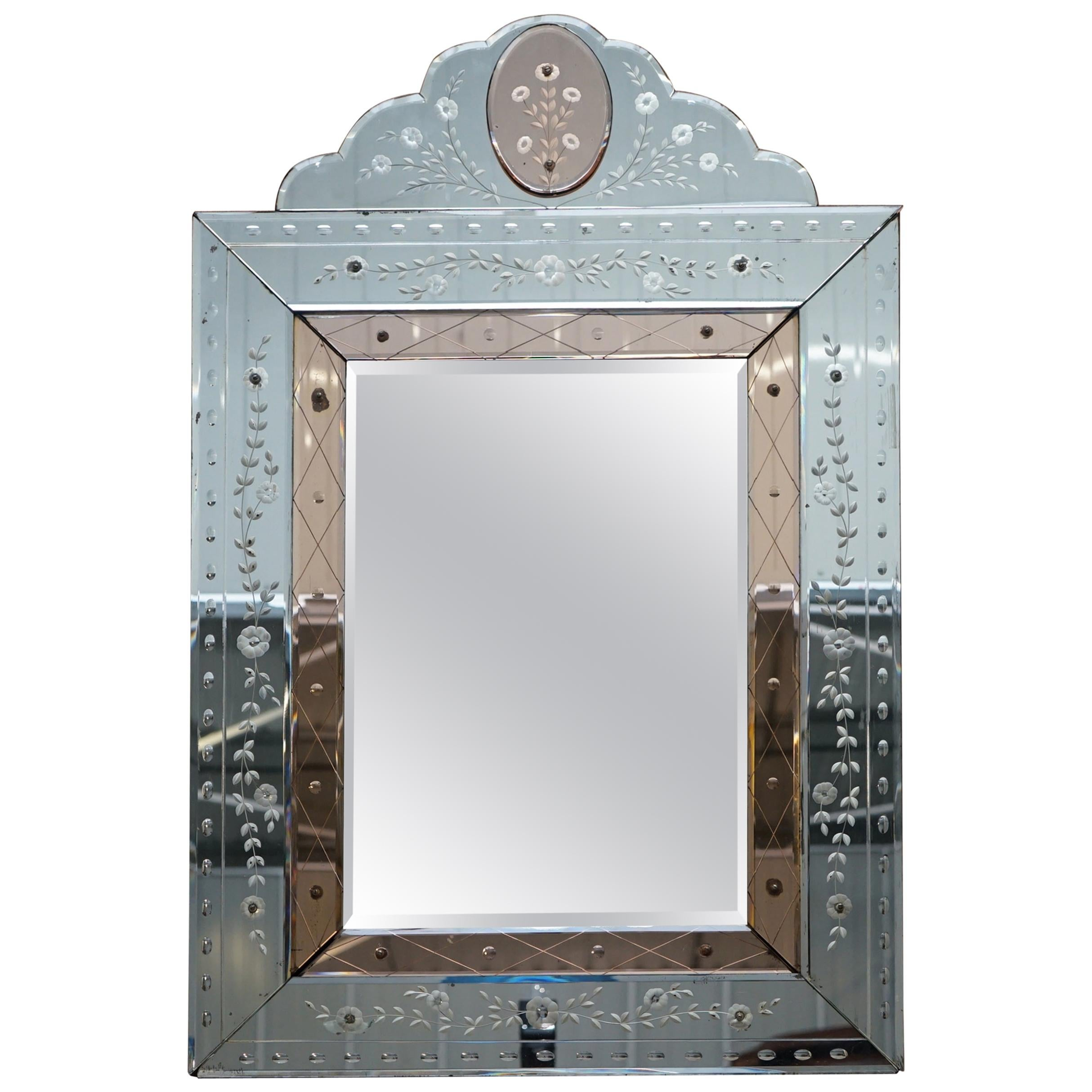 Rare 1930s Peach French Art Deco Venetian Etched & Engraved Bevelled Mirror