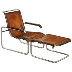 Rare 1930s Restored Marcel Breuer S35 Thonet Leather Lounge Armchair and Ottoman