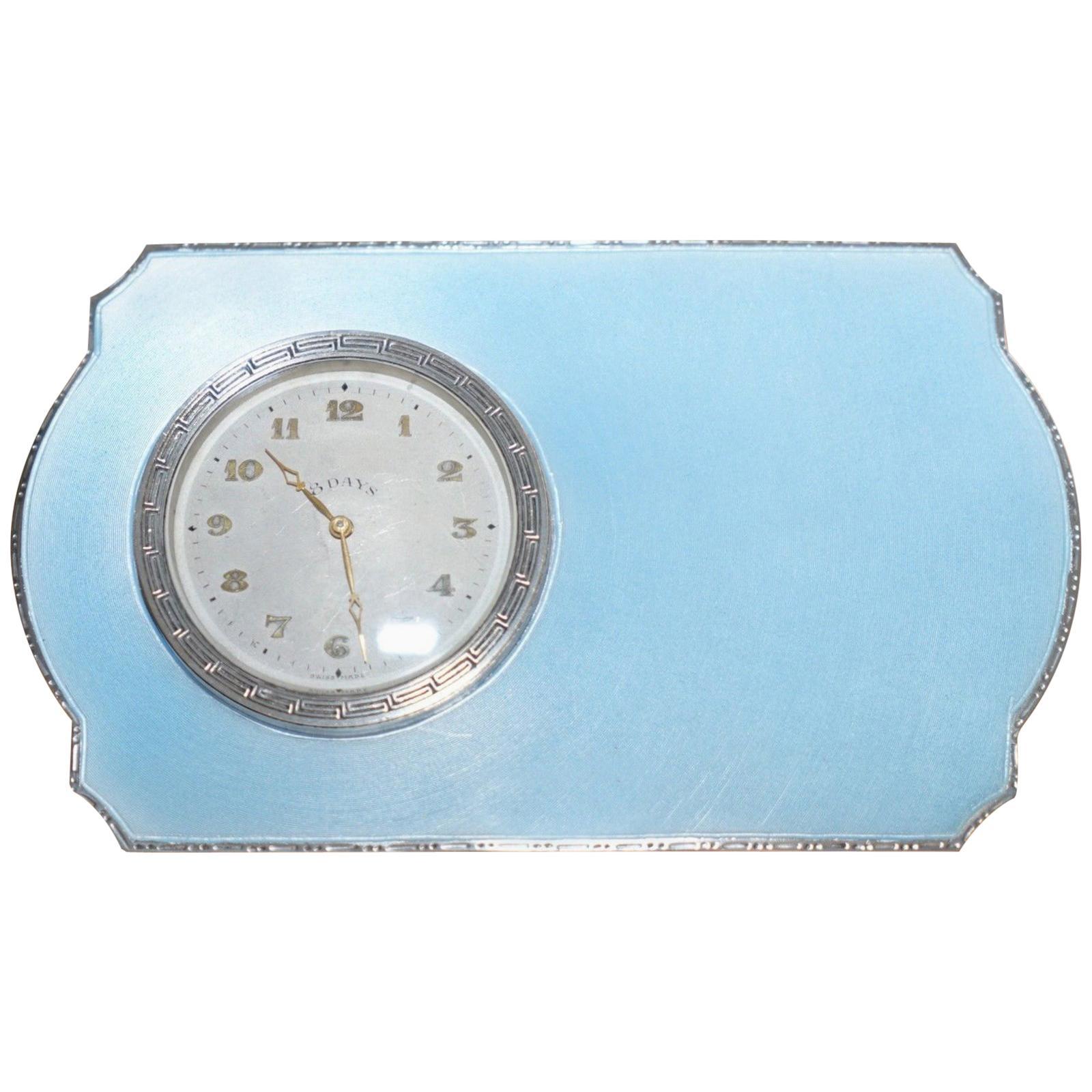 Rare 1938 Asprey Solid Sterling Silver Art Deco Guilloche Enamel 8 Day Clock