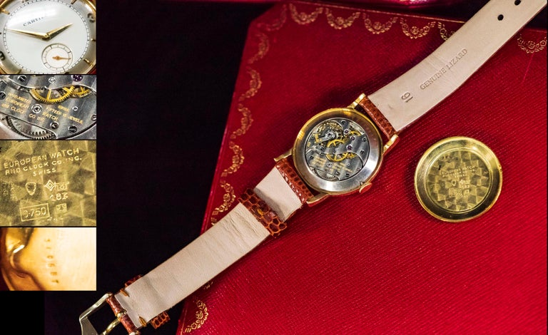 Rare 1940-50s 18k Cartier EWC 2tone Enamel & Satin Silver Sector Dial Wristwatch In Excellent Condition For Sale In New york, NY