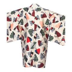 1950S Japanese Silk Ikat Hand Woven  Kimono